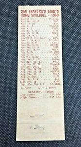 1960 San Francisco Giants Matchbook Schedule - The Catchers Mitt Cocktails & Foo