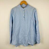 Stefanel Womens Blouse Size Large Linen Blend Blue White Stripe Long Sleeve
