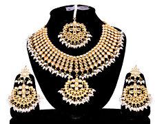 Indian Kundan Choker White Necklace Earrings Tikka Fashion Jewelry Pearls Set