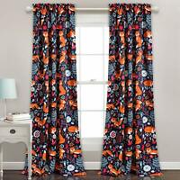 "2PC Curtain Set Fox Jungle Blackout Window Treatment Rod Pocket 52""W x 84""L Navy"
