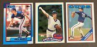 HOFer Greg Maddux 3-card TOPPS TIFFANY LOT: 1988 Topps, 1989 Topps & 1990 Topps