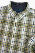 KUHL Men's STALLION Active Shirt Crepe Wrinkle Texture Green Plaid UPF 15 - XL