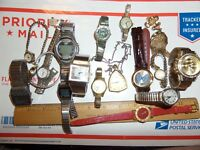 MOSTLY VINTAGE BIG WATCH LOT REPAIRS PARTS BANNER SUTTON ADMIRAL & MORE