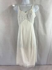 Euc Vintage Philmaid Lingerie Lacy & Satin Nightgown 100% Antron Cream Sz 32