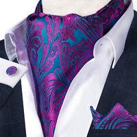 Mens Silk Paisley Ascot Cravat Tie Jacquard Woven Pocket Square Cufflinks Set