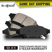 4PCS Front Ceramic Brake Pads For 2009-2017 Chevy Traverse 2007-2016 GMC Acadia