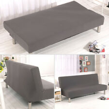 Folding Sofa Bed Cover Polyester Elastic Fabric Armless Slipcover Solid Gray US