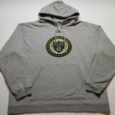 Adidas MLS Philadelphia Union Sweatshirt Mens L Hoodie Gray Pullover Soccer A52