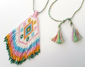 Seas and Breeze Boho hand beaded gypsy necklace and pendant adjustable length