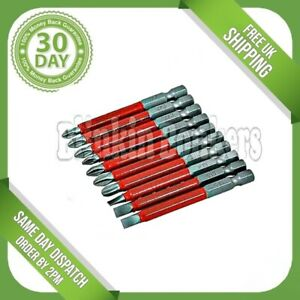 ASSORTED POWER SCREWDRIVER LONG REACH HEX BIT SET NON SLIP POZI PHILIPS SLOTTED