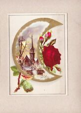 Victorian Scrap Trade Card Crescent Moon Red Roses Winter Church Scene NOS