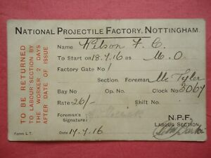 WW1 1916 MUNITION ID CARD WORLD WAR ONE NATIONAL PROJECTILE FACTORY NOTTINGHAM 1