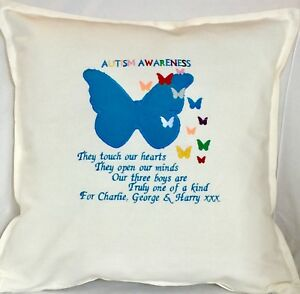 Personalised Autism Awareness Large Blue small Rainbow Butterfly Cream Cushion