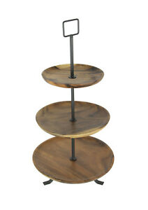 Zeckos Rustic Round Wood Standing 3 Tiered Serving Tray
