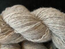 Oatmeal 1strand Wool/1strand Angora 2 ply Lt. Fingering Yarn Unusual and V Nice