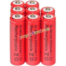 8x AA battery batteries Bulk Nickel Hydride Rechargeable NI-MH 3000mAh 1.2V Red