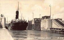 RP Postcard Ship Entering Davis Lock in Sault Ste. Marie, Michigan~128760