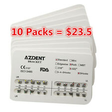 10 Pack AZDENT Dental Orthodontic Metal Bracket Braces Standard Roth.022 Hooks 3