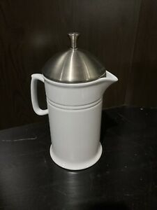White Chantal French Ceramic 28 Oz. Coffee Press Stainless Lid And Plunger