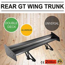 52'' Universal Aluminum Adjustable Double Deck Rear Trunk GT Wing Spoiler Black