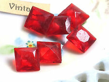 Vintage Square rhinestones Red 10mm Czech Pointed Back NOS (1025D)