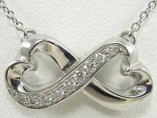 Tiffany & Company Paloma Picasso 18K White Gold Diamond Loving Heart Necklace 16