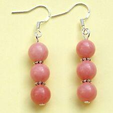 Pink Gemstones Earrings Rhodochrosite Beads Sterling Silver Hooks LB305