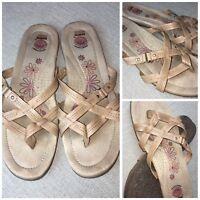 EARTH SPIRIT Gelron 2000 Women's Sz 11 Tan Slip On Strap Flip Flop Sandal | Z