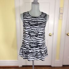 BB Dakota Burnell Sleeveless Sequin Peplum Tank Top Zebra Stripe Mesh Trim M