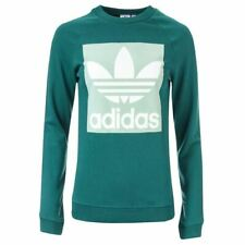 Women's adidas Originals Trefoil Crew Neck Cotton L/S Sweatshirt in Green