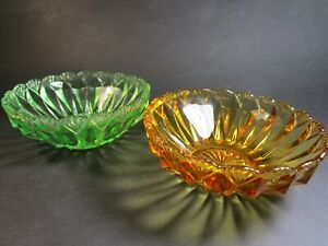 TWO LOVELY SMALL DREPRESSION BOWLS CROWN CRYSTAL