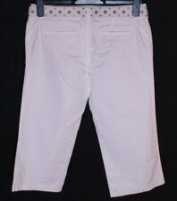 """BNWT Mujeres Oakley 3/4 O Capri Pantalones Jeans Pantalones Pequeño W28"""" Blanco + Cinturón"""