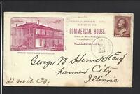 "WILLIAMSPORT,INDIANA,1884,#210   ILLUST HOTEL ADVT COVER.  ""COMMERCIAL HOUSE""."