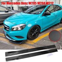 """Carbon Fiber Look Side Skirt Extension For Mercedes Benz W205 W204 W212 86.6"""""""