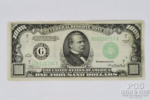 1934 $1000 Federal Reserve Note Serial # G00116791A US Currency Note 21319