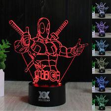 Super Héroe Deadpool 3D LED Acrílico Luz de noche Lámpara nocturna Regalos