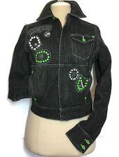 Pepe Jeans Denim Jacket Medium Stretch Black Bling Trucker Hip Hop Women London