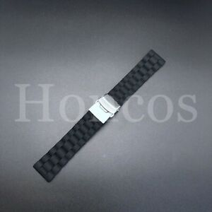 20 MM Black Silicone Rubber Watch Band Strap Deployment Clasp Buckle Replacement