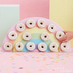 RAINBOW DOUGHNUT WALL-Pastel Birthday Party Centrepiece Display/Decoration-Donut