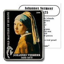 Cook Islands Masters Series Vermeer Pearl $5 2009 Proof Silver Crown COA