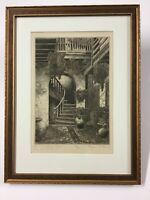 "Eugene E. Loving Etching ""The Marchand Court, Old New Orleans"" Great Frame"