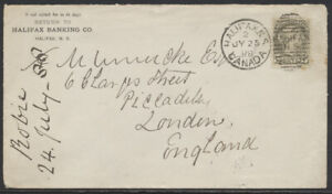 1888 #38 5c Small Queen On Halifax Banking CC Cover to England, Duplex Cancel