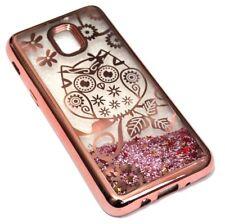 For Samsung Galaxy J3 2018/Achieve Rose Gold Owl Flower Glitter Star Liquid Case