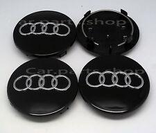 4x 69mm Audi Wheel Center Caps Emblem BLACK Cover Hub A3 A8 A5 A6 S3 8D0 601 170