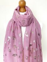 LADIES PINK LEOPARD PRINT SCARF PINK WITH GOLD METALLIC PRINT SOFT SCARF AW19