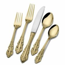Wallace Gold Antique Baroque Stainless Flatware 5 pc place setting New