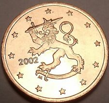 Gem Unc Finland 2002 5 Euro Cents~Standing Lion With Sword~Free Shipping
