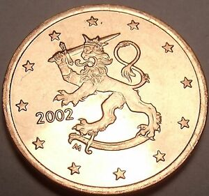 Gem Unc Finland 2002 5 Euro Cents~Standing Lion With Sword