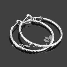 18K 18CT White GOLD GF Diamond CUT 3.5cm Medium Large HOOP Earrings Womens ES441