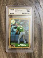 1987 Topps Graded Mark McGwire Gem Mint 10 Baseball Card